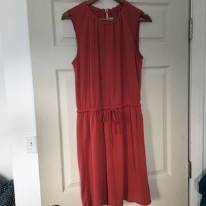 Loft drawstring waist sleeveless coral dress Sz M